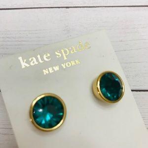 Kate Spade teal/green gemstone earrings NEW